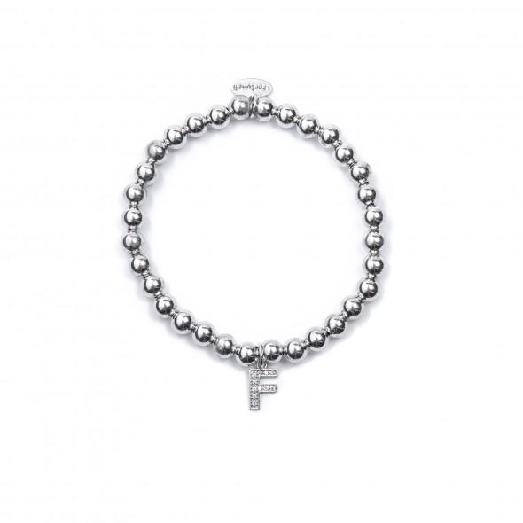 Bracciale Argento Lettera F con sfere da 5 mm