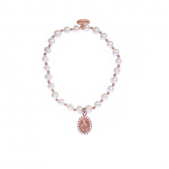 cb5bebb522 Bracciale Perle Madonna in bagno oro rosa - I Fortunelli