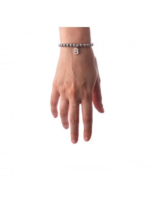 Bracciale Argento Lettera B con sfere da 5 mm