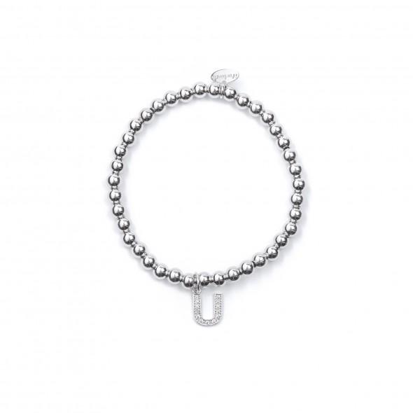 Bracciale Argento Lettera U con sfere da 4 mm