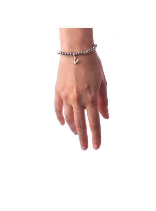 Bracciale Argento Lettera V con sfere da 4 mm