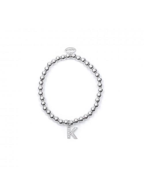Bracciale Argento Lettera K con sfere da 4 mm