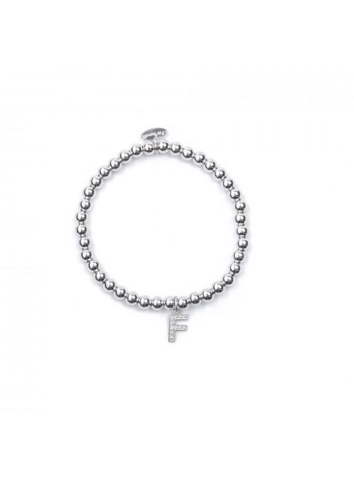 Bracciale Argento Lettera F con sfere da 4  mm