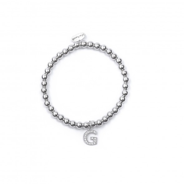 Bracciale Argento Lettera G con sfere da 4 mm