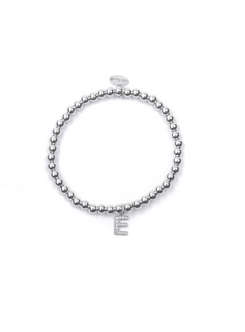 Bracciale Argento Lettera E con sfere da 4 mm
