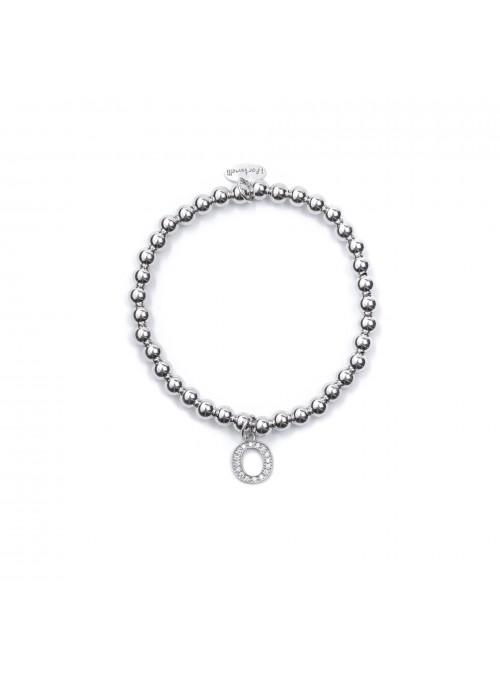 Bracciale Argento Lettera O con sfere 4 mm