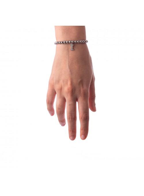 Bracciale Argento Lettera I con sfere 4 mm
