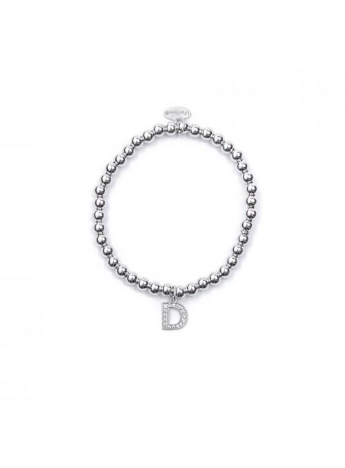 Bracciale Argento Lettera D con sfere 4 mm