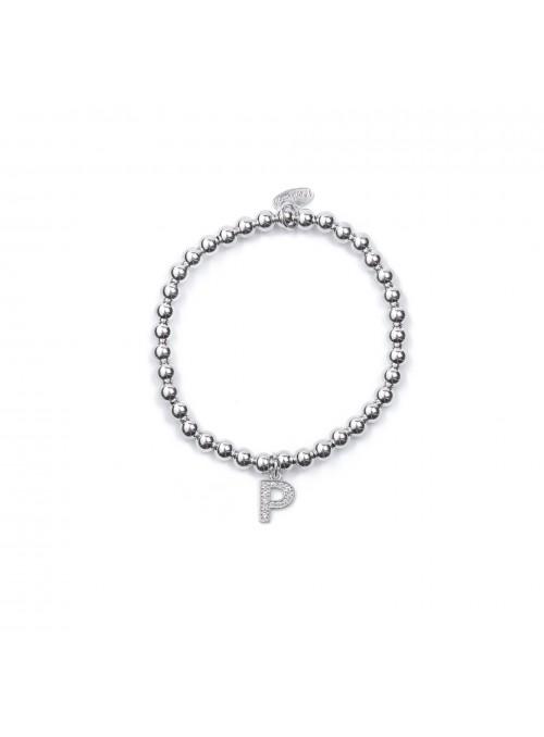Bracciale Argento Lettera P con sfere 4 mm