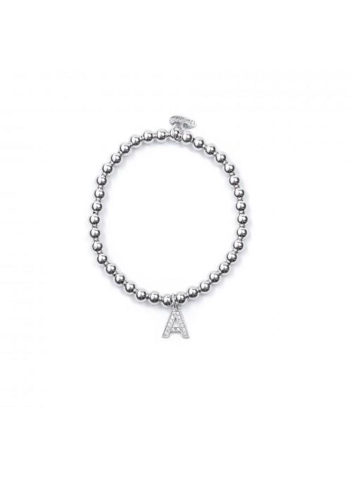 Bracciale Argento Lettera A con sfere 4 mm
