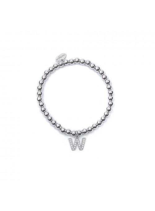 Bracciale Argento Lettera W con sfere 4 mm