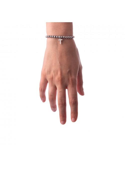 Bracciale Argento Lettera T con sfere 4 mm