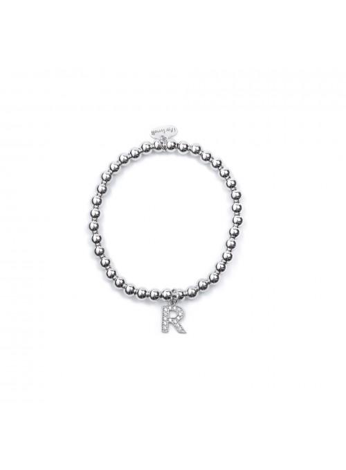 Bracciale Argento Lettera R con sfere 4 mm