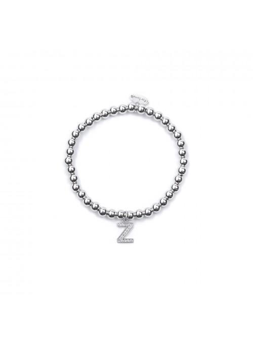Bracciale Argento Lettera Z con sfere 4 mm