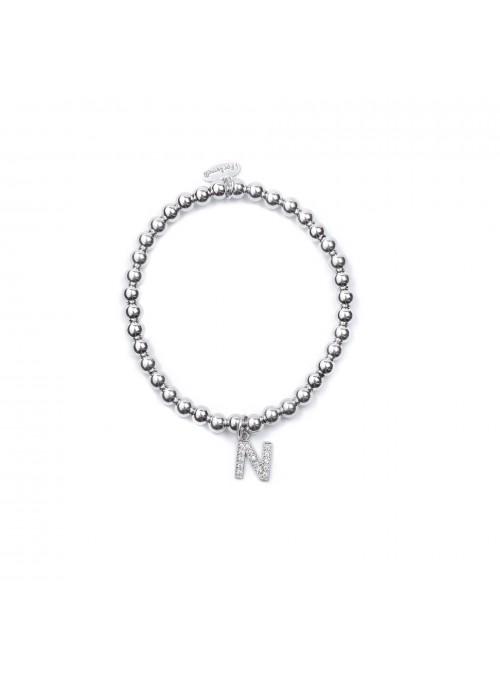 Bracciale Argento Lettera N con sfere 4 mm