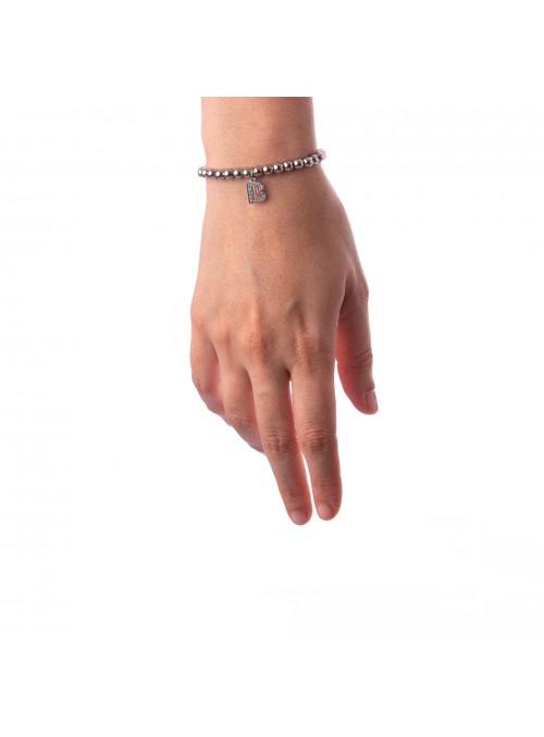 Bracciale Argento Lettera B con sfere 4 mm