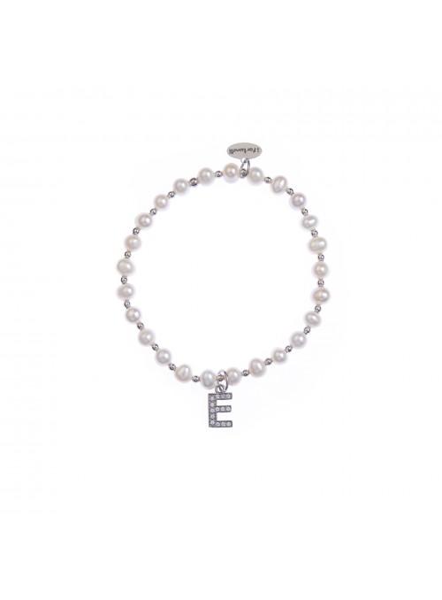 Bracciale Perle lettera E