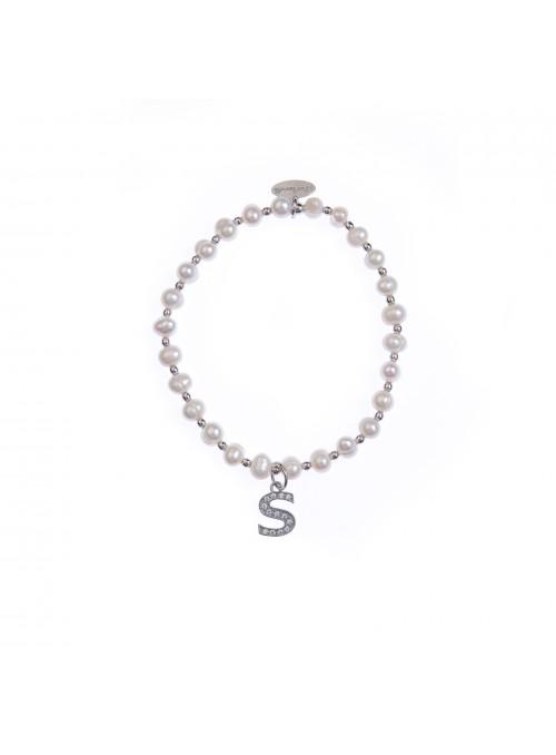 Bracciale Perle lettera S