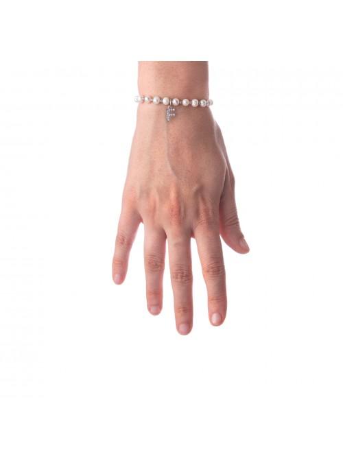 Bracciale Perle lettera F