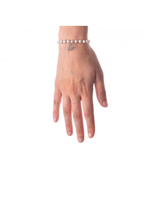 Bracciale Perle lettera V