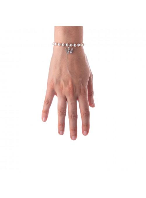 Bracciale Perle lettera W