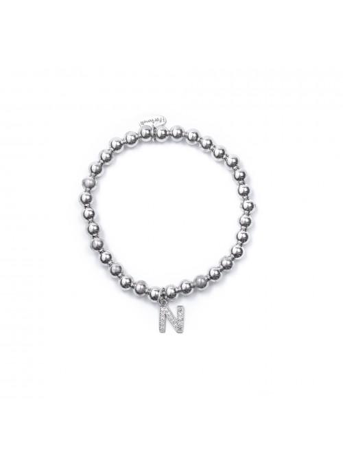Bracciale Argento Lettera N con sfere da 6 mm