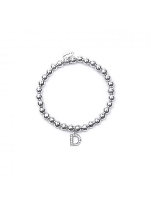 Bracciale Argento Lettera D con sfere da 6 mm
