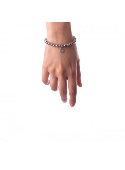 Bracciale Argento Lettera U con sfere da 6 mm