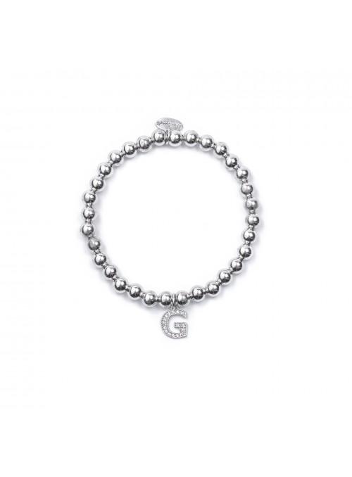 Bracciale Argento Lettera G con sfere da 6 mm