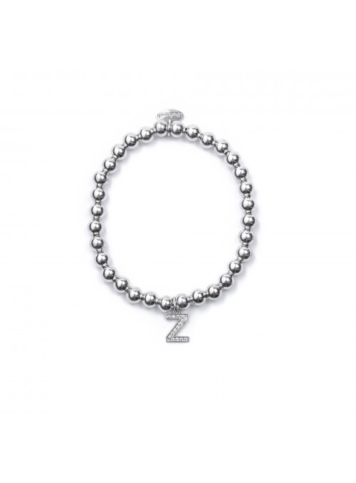 Bracciale Argento Lettera Z con sfere da 6 mm