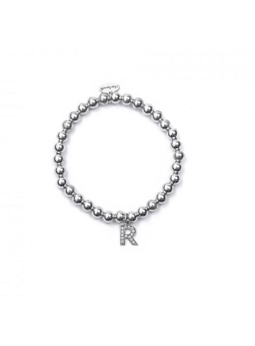 Bracciale Argento Lettera R con sfere da 6 mm