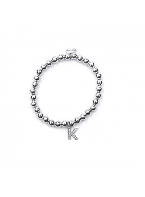 Bracciale Argento Lettera K con sfere da 6 mm