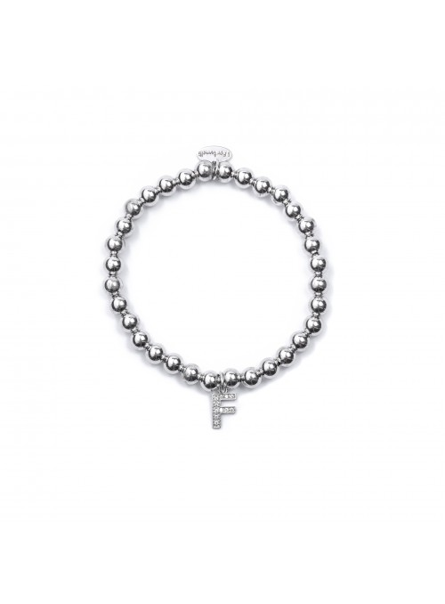 Bracciale Argento Lettera F con sfere da 6 mm