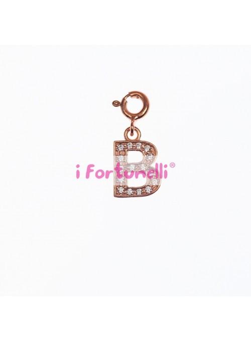 Ciondolo Argento Lettera B in bagno oro rosa