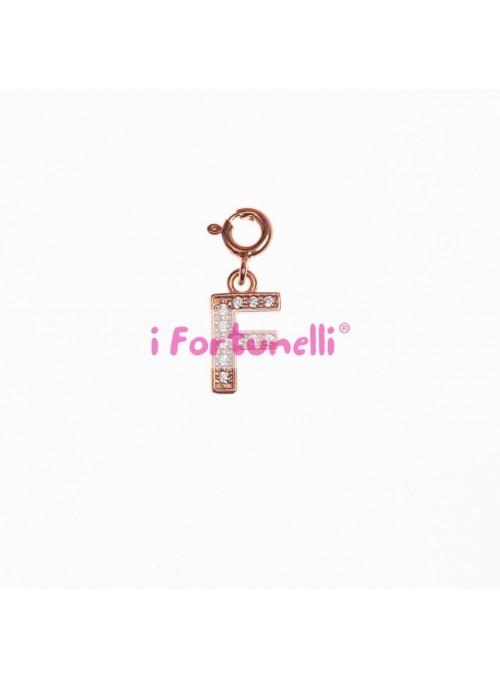 Ciondolo Argento Lettera F in bagno oro rosa