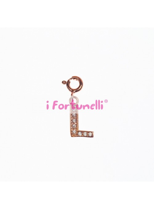 Ciondolo Argento Lettera L in bagno oro rosa
