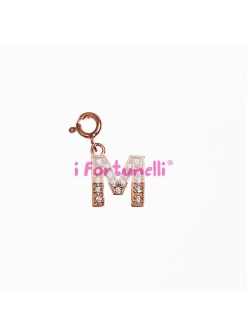 Ciondolo Argento Lettera M in bagno oro rosa