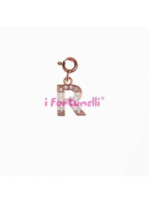 Ciondolo Argento Lettera R in bagno oro rosa