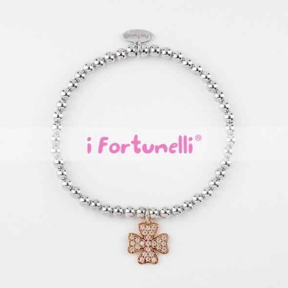 4fd974f129 Bracciale Argento Quadrifoglio in bagno oro rosa con sfere 4 mm - I ...