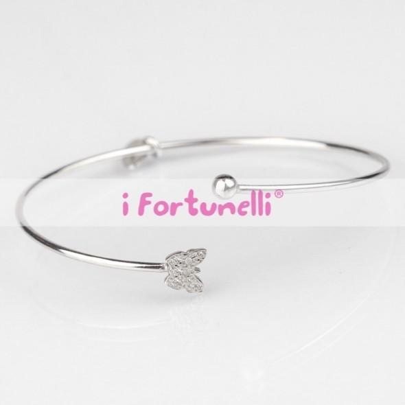Bracciale Cerchio Farfalla con pallina in argento