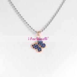 Collana Argento Farfalla cristalli blu in bagno oro cm. 60