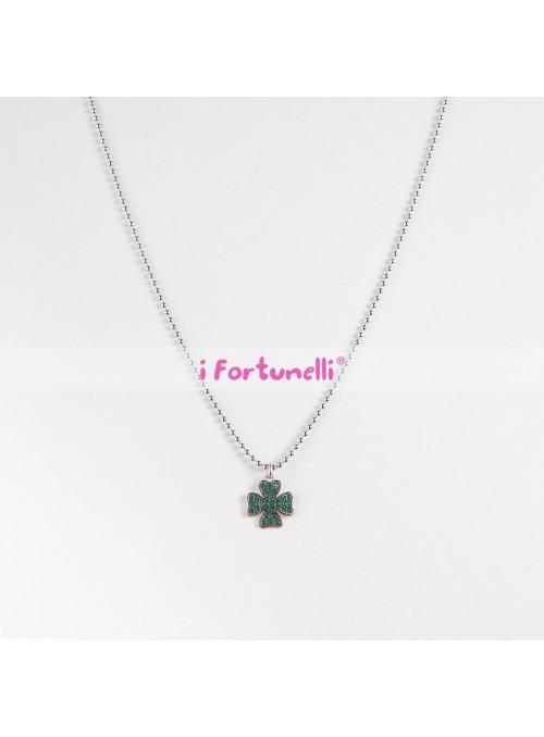 Collana Argento Quadrifoglio cristalli verdi cm. 60