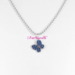 Collana Argento Farfalla cristalli blu cm. 80