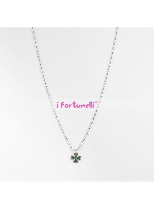Collana Argento Quadrifoglio cristalli verdi cm. 80