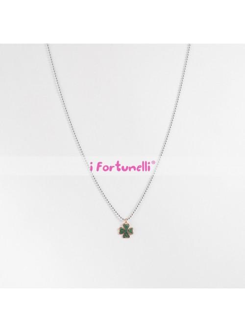 Collana Argento Quadrifoglio cristalli verdi in bagno oro cm. 80