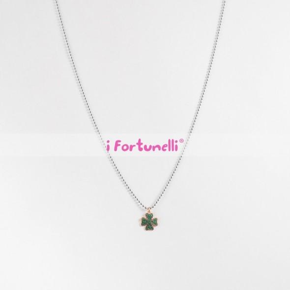 34116607bf Collana Argento Quadrifoglio cristalli verdi in bagno oro cm. 80 - I ...
