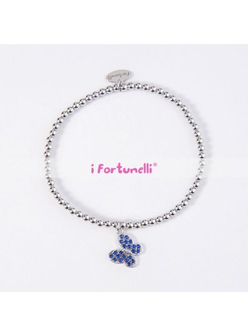 Bracciale Argento Farfalla blu con sfere 3 mm