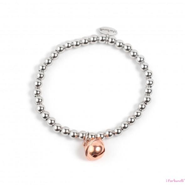 50273e18c6 Bracciale Argento Sonaglio in bagno oro rosa con sfere da 5 mm - I ...