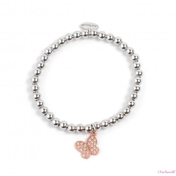 03f7a98c5a Bracciale Argento Farfalla in bagno oro rosa con sfere 5 mm - I ...