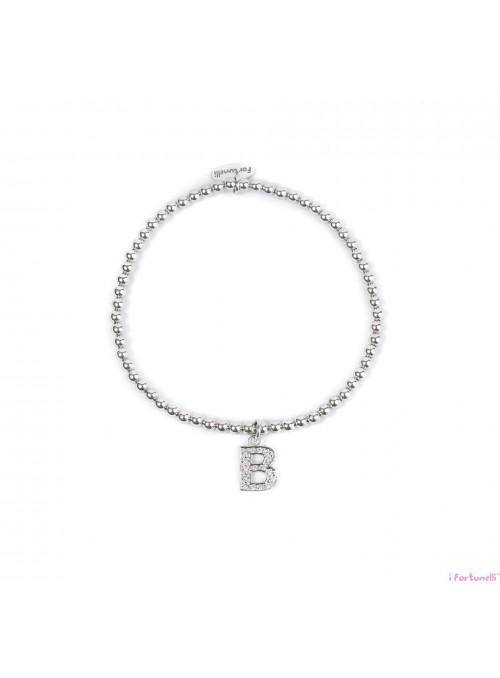 Bracciale Argento Lettera B con sfere da 3 mm